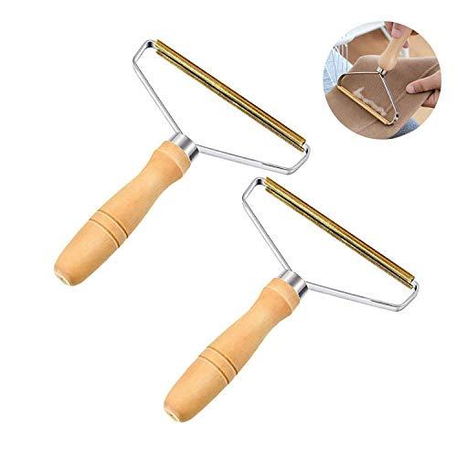 WELLXUNK® Fusselrasierer Fusselentferner, Clothes Lint Remover mit Holz Griff, Portable Lint Remover Fuzz Shaver Kaschmirkamm für Wolle Kaschmir und Weitere Stoffe (M2)