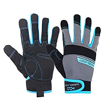 HANDLANDY Work Gloves Mens & Women Utility Safety Mechanic Working Gloves Touch Screen Flexible Breathable Yard Work Gloves  Small Grey