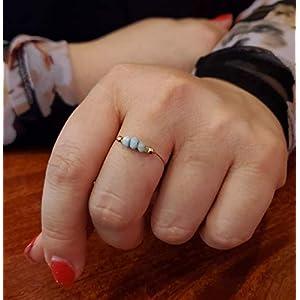 Tiny Dainty Minimalist Larimar Ring