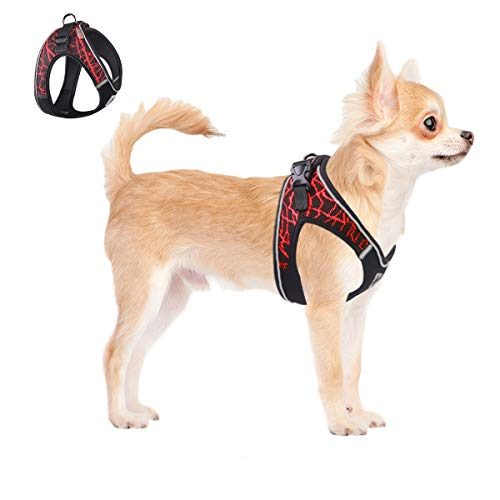 ACKERPET Comfort Step in Dog Harness Easy to Put on Small Dog Harness No Choke Adjustable Pet Vest No Pull Outdoor Sport Vest Harness Reflective Soft Padded Vest for Small Medium Dogs(XS,Red)