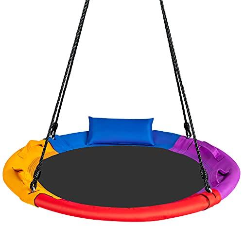 COSTWAY Kinder Nestschaukel mit Kissen, Baumschaukel 100-160cm verstellbaren Seil, Hängeschaukel 150kg Tragkraft, Gartenschaukel für Hinterhof, Garten & Spielplatz