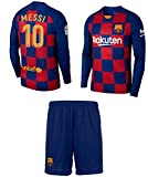Lionel Messi Barcelona #10 Youth Soccer Jersey Home Long Sleeve Kit Shorts Kids