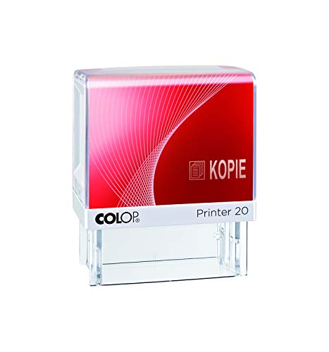 COLOP 100639 Textstempel Printer 20 mit Text Kopie und Piktogramm, Abdruck Blau/rot, im Faltkarton