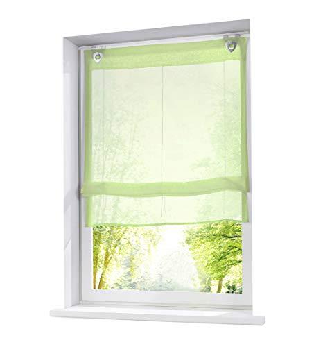 BAILEY JO 1 tenda a pacchetto con ganci a U, in voile bianco trasparente, con occhielli, 80 x 130 cm, colore: verde