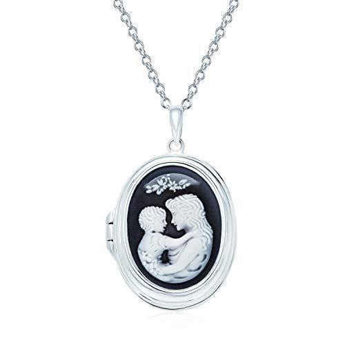 Personalizar Vintage estilo victoriano negro blanco anhelado madre y niño amoroso Cameo foto medallón hijo hija collar para las mujeres 925 plata esterlina mujeres sostienen la imagen