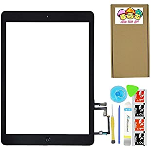 XIAO MO GU Black Digitizer Touch Screen Front Glass Assembly for iPad Air 5th-Includes Home Button + Camera Holder with Tools Kit
