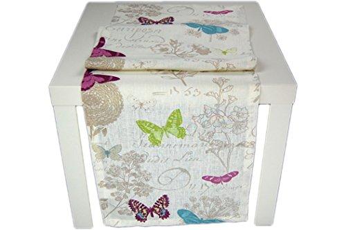 Hossner Tischdecke Creme Leinenoptik Butterfly Leinendecke Vintage Frühling Sommer Tischläufer (40 x 150 cm)