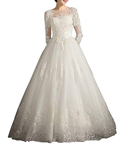 Tianshikeer Spitze Langarm Brautkleider A-Linie Lang Hochzeitskleider Vintage