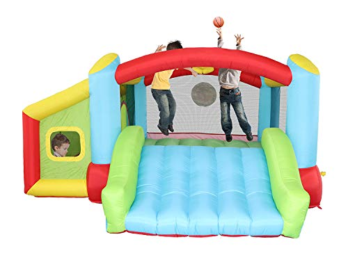 KONGNIJIWA Inflatable Bounce House with Blower, Kids Slide Jumping Castle with Basketball Rim, Jumping Area and Ball Pit