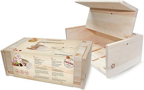 Zirben Familie das Original Brotkasten • Hygienische Aufbewahrungsbox 45x16x25cm aus duftenden ZirbenHolz • Hält Lebensmittel wie Brot, Obst und Gemüse länger frisch