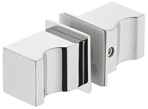 Gedotec Duschtür-Knopf Edelstahl poliert Glas-Türgriff eckig für Duschtüren - H10181 | Duschkabinen-Knauf zum Schrauben | Knopf-Griff quadratisch 35 x 25 mm | 1 Paar - Design Türknopf für Glastüren
