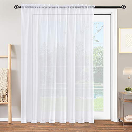 """jinchan White Sheer Curtains 100"""" Width x 84"""" Length Window Curtain for Living Room Drapes Textured Voile Rod Pocket Sheer Window Panels for Bedroom 1 Panel"""