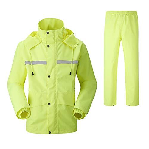 CHGDFQ Chaqueta Impermeable para Hombres con Capucha Reutilizable (Conjunto de Pantalones Impermeables y Impermeables) Trabajos para Adultos a Prueba de Lluvia y Viento con Capucha al Aire Libre