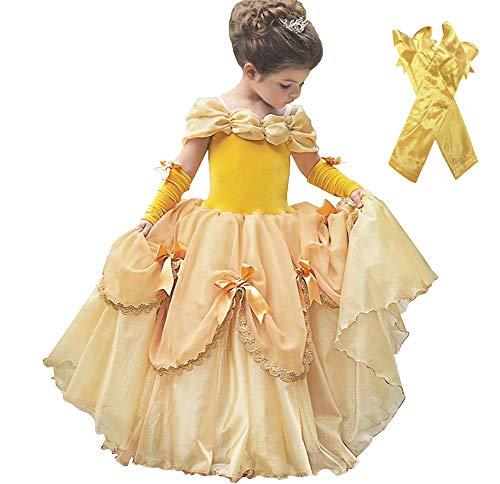 Lito Angels Deguisement Robe de Princesse Belle Déguisement La Belle et la Bête pour Enfants Filles Costume d'halloween Fête d'anniversaire Cosplay Carnaval Jaune Taille 2-3 ans