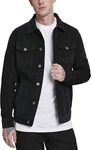 Urban Classics Herren Jeansjacke Jacke Corduroy Jacket, Schwarz (Black 00007), Small (Herstellergröße: Small)