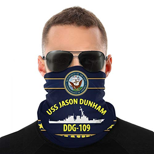 USS Jason Dunham Ddg-109 Anime Men Woman Outdoor Multi Function Variety Head Scarf Windproof Sports Face Mask Black