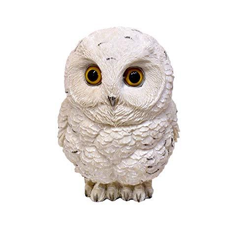 Muwse 1 x Poly Schnee-Eule weiß 14x14x18cm (ca. 600g) - 100% Sichtkontrolliert; handbemalte Garten-deko aus Poly-Resin Kunst-Stein