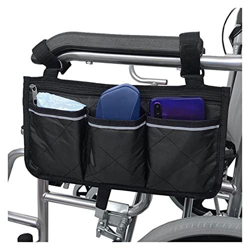 SZBLYY Bolsa Silla de Ruedas Bolsa Lateral de Silla de Ruedas Armés de la Bolsa Organizador Multi-Pockets Bolsa de Almacenamiento con Tira reflexiva Accesorios para sillas de Ruedas (Color : Negro)