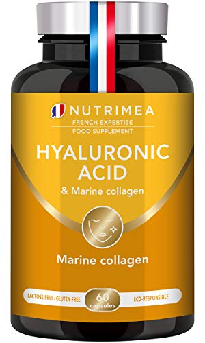 Hyaluronic Acid & Marine Collagen - Enriched with Vitamins A & C - Natural Anti-Wrinkle, Restructure Skin, Protect Joints and Anti-Aging - New Formula - Vegan Capsules - French Expertise
