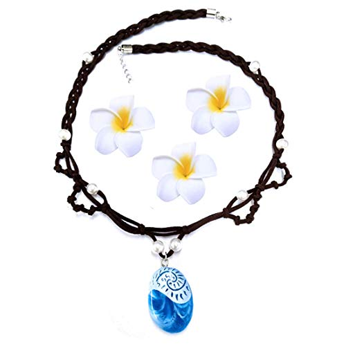 Huahuamini Magical Seashell Necklace for Kids Girls Blue Pendant Handmade Weave Rope Chain with Hair Flower Clip for Moana Cosplay