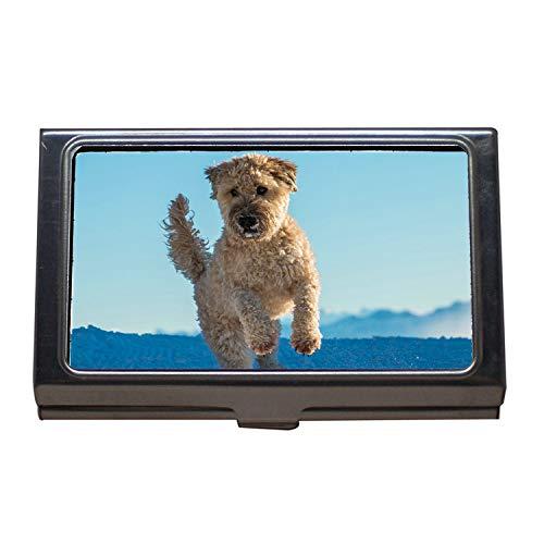 Titular de la tarjeta de presentación comercial, Dog Jump Play Irish Whierten Whierten Terrier suave irlandés, Estuche para tarjetas de visita de acero inoxidable