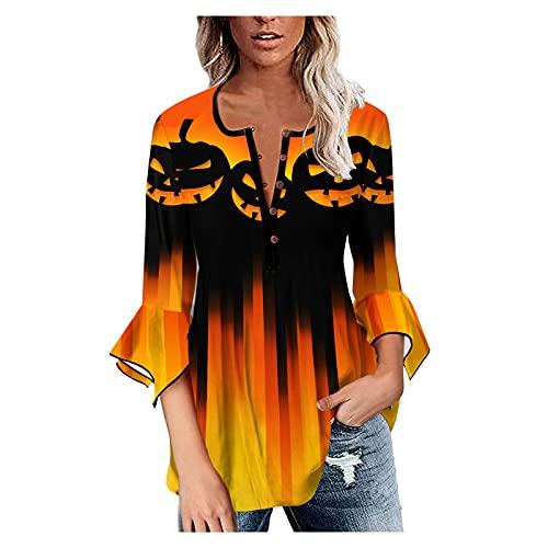 Camisetas Halloween Mujer de Manga Larga Talla Grande Cuello en V, Sudadera Tops Blusas Manga de Linterna con Botón Estampado de Calabaza Retro Pullover Camisetas Básicas Camisas (B Amarillo, S)