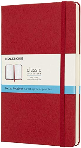 Moleskine Classic Notebook, Taccuino con Pagine Puntinate, Copertina Rigida e Chiusura ad Elastico, Formato Large 13 x 21 cm, Colore Rosso Scarlatto, 240 Pagine
