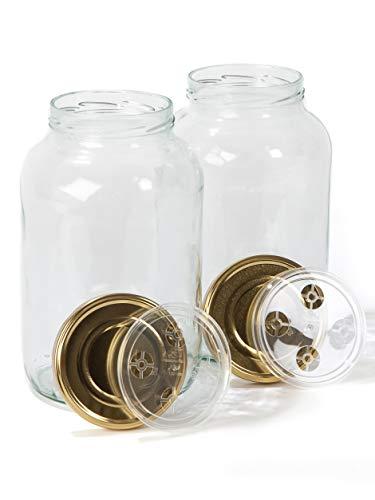 myFERMENTS Pack de 2 Tarros de Cristal con Tapa, Grandes (4,25 l)- Especial para Hacer Conservas, Fermentación, y Encurtidos.