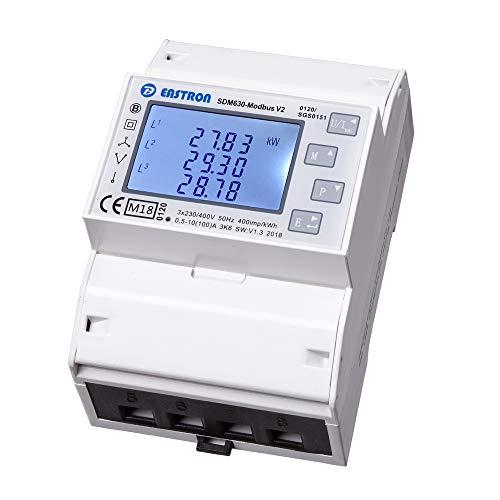 SDM630Modbus V2 MID/digitaler Wechselstromzähler/Stromzähler/Multifunktionsmessgerät für DIN Hutschiene mit S0 Schnittstelle und RS485 Modbus RTU/geeicht/MID zugelassen