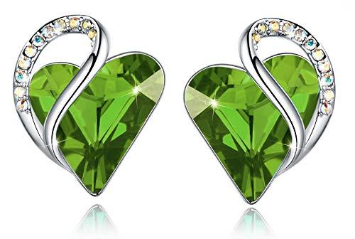 Leafael Infinity Pendientes de botón Amor corazon con cristal de piedra natal verde peridoto para agosto, regalos para mujeres, tono plateado