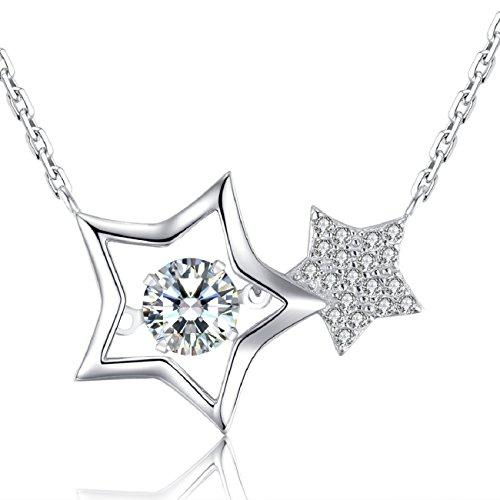Le Premium®Unendliche Sterne Tanzende Diamant-Anhänger-Halskette Hergestellt aus 6MM AAA Zirkonoxid -925er Sterling Silber -Suspensionsfixierung Stein Kunst