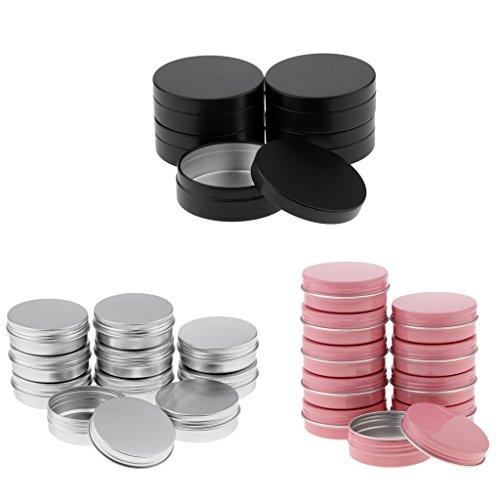 25 Unids Portátil Tarro de Aluminio Vacía Botella de Cosméticos de Color Plata/Rosa/Negro Contenedor Caja de Almacenamiento 100ml / 60ml