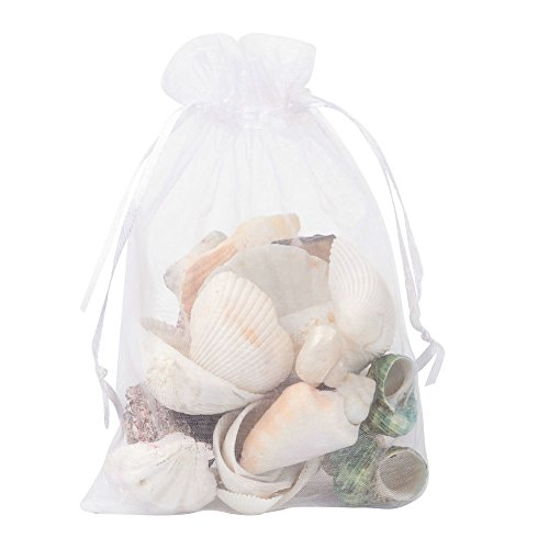 PH PandaHall 100pcs 5x7inch White Organza Drawstring Bags Gift Candy Sheer Bags for Wedding Party Favor Gift Bags Candy Jewelry Bags Valentine's Day