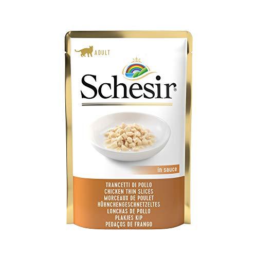Schesir Cat Sauce Hühnchen-Geschnetzeltes mit Reis, Katzenfutter nass in Soße, 20 Beutel x 85 g