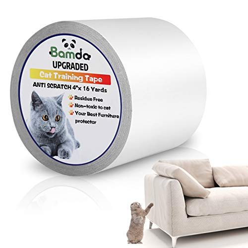 Bamda Cat Scratch Deterrent Tape - 4 Inches x 16 Yards Clear Double-Sided Cat Anti Scratch Training Tape, Cat Scratch Furniture Protector for Couch, Carpet, Doors, Counter Tops, Pet & Kid Safe