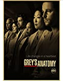 HUANGJIE Canvas Poster Grey's Anatomy Retro Poster Vintage