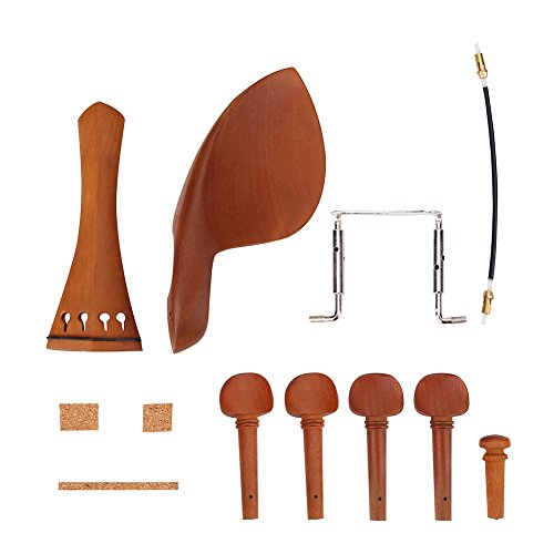 VGEBY 1Set 4/4 Holz Violine Teile mit Kinn Rest Endpin Saitenhalter Kork Holz Wirbeln Schraube Schwanz gut Violine Accessory Kit