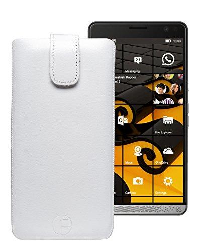 Original Favory Etui Tasche für | HP Elite X3 | Leder Etui Handytasche Ledertasche Schutzhülle Hülle Hülle Lasche mit Rückzugfunktion* in weiss