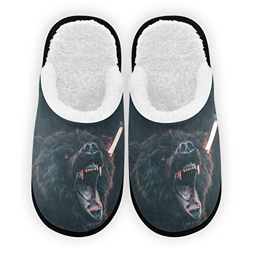 Zapatillas para hombre y mujer, con forro de felpa de oso negro, cómodas, cálidas de forro polar coral, para interior y exterior