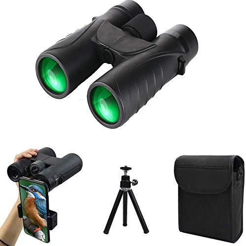 Fernglas 10x42 Leistungsstarkes Fernglas für Erwachsene zur Vogelbeobachtung, Wandercampingkonzerte, BAK4 Prism FMC-Objektiv mit Telefonadapter