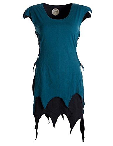 Vishes - Alternative Bekleidung - Ärmellose Zipfeltunika im Lagenlook mit seitlicher Schnürung Biobaumwolle schwarz 40 (L)