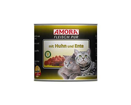Amora Cat Fleisch pur mit Huhn+Ente | 6 x 200g Katzenfutter nass