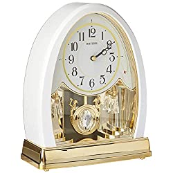 Rhythm Clocks Joyful Crystal Pearl Musical Mantel Clock