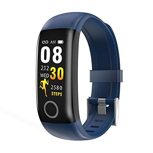 DFBDFB Reloj inteligente de control de la frecuencia cardíaca, Bluetooth, podómetro deportivo para hombres y mujeres, resistente al agua, reloj multifunción (color: azul)