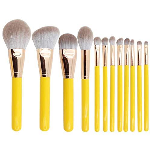 OPSBNWEUYS 12pcs Professionnel Doux Maquillage Jaune brosses Ensemble Fondation Poudre ombrage Brosse complète Fonction Maquillage cosmétique Outils kit