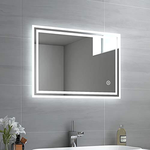 EMKE LED Badspiegel, 50x70cm Badezimmerspiegel mit Beleuchtung 3 Lichtfarbe 3000-6400K kaltweiß Neutral Warmweiß Lichtspiegel Badezimmerspiegel mit Touchschalter+Beschlagfrei