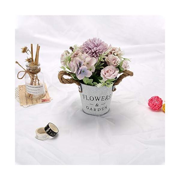 GoMaihe Flores Artificiales Decoración, 11cm × 20cm Flores Artificiales Decorativas Maceta 3Pcs, Plantas Artificiales…