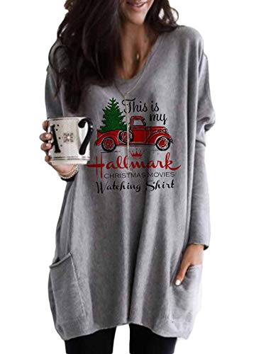 Christmas Movies Watching Shirt Xmas Truck Tree This is My Xmas Watching Shirt Long Sleeve Blouse Pullover Tops-L Grey