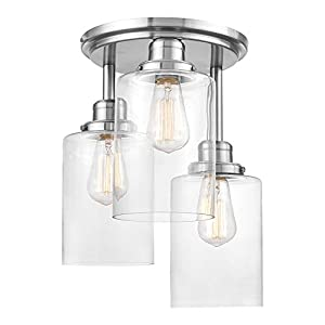 Globe Electric 61418 Annecy 3-Light Semi-Flush Mount Ceiling Light, Brushed Steel, Clear Glass Shades