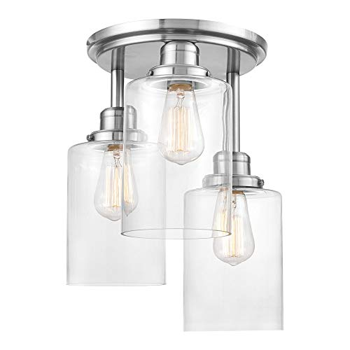 Globe Electric Annecy 3 Semi-Flush Mount Ceiling Light, Brushed Steel, Clear...